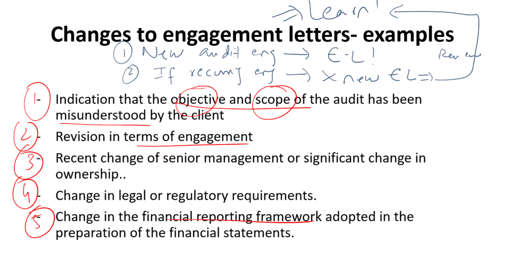 Changes to engagement letters