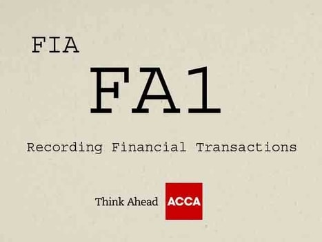 ACCA FIA FA1 Recording Financial Transactions